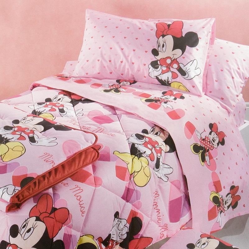 Piumone 1 Piazza E Mezza Disney.Trapunta Minnie Disney Caleffi Minnie Cuoricini Rosa 1 Piazza E Mezza Offerta