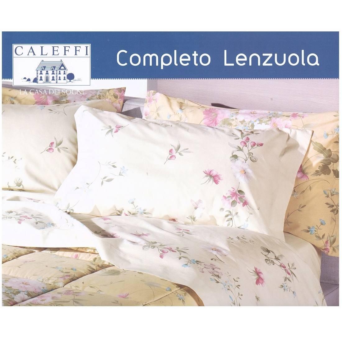 Matrimoniale Lenzuola Copriletto Completo Letto Cotone CALEFFI FIOR DI PESCO