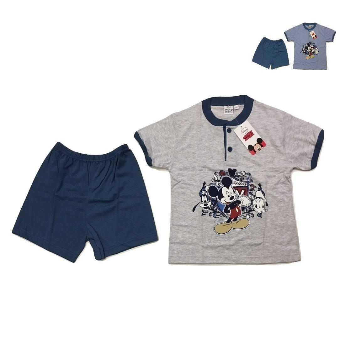 Pigiama Bambino Mezza Manica e Pantaloncino in Cotone Topolino Disney