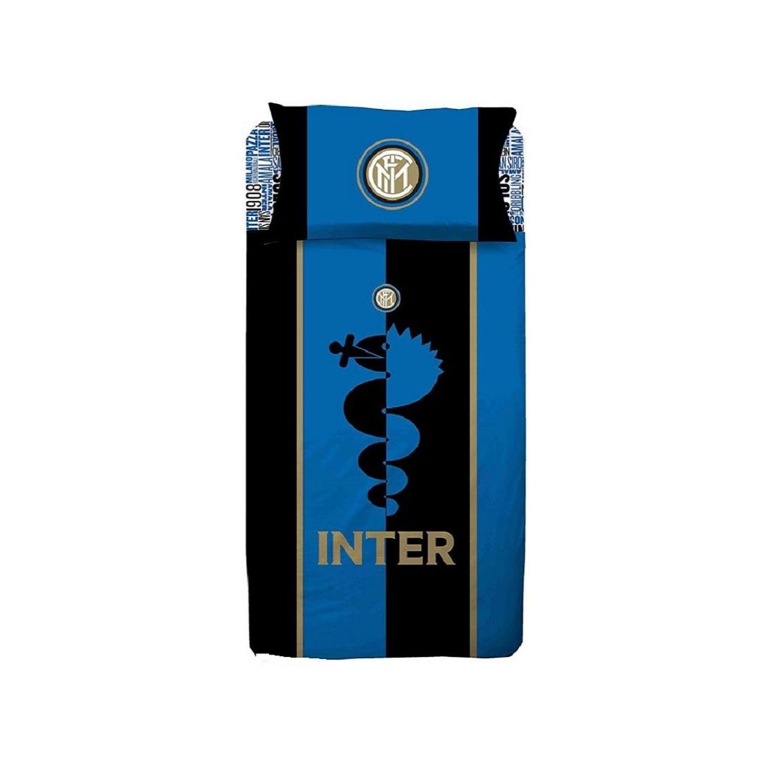 Lenzuola Matrimoniali Inter.Lenzuola Inter Completo Letto Singolo Prodotto Ufficiale Fc Inter