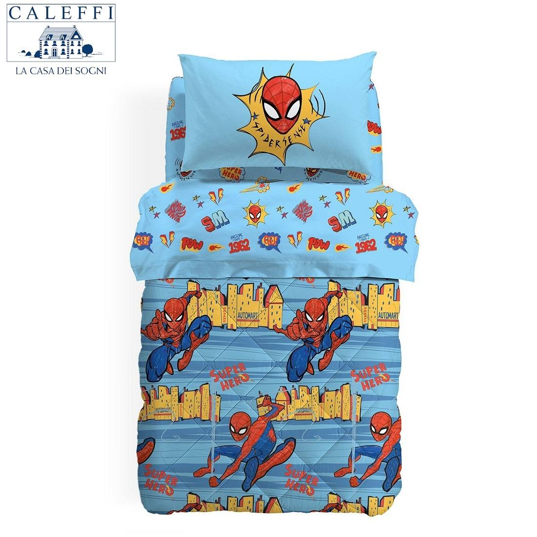 Trapunta Spiderman Caleffi Spiderman New York Singola Esterno Cotone