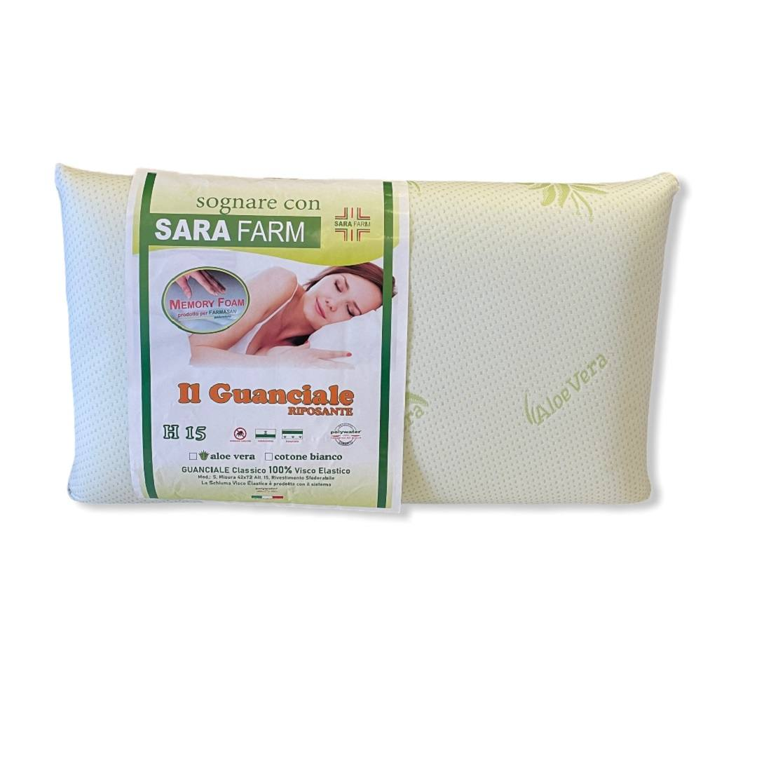Guanciale Memory Foam Altezza Cm 15 Made In Italy Federa In Aloe