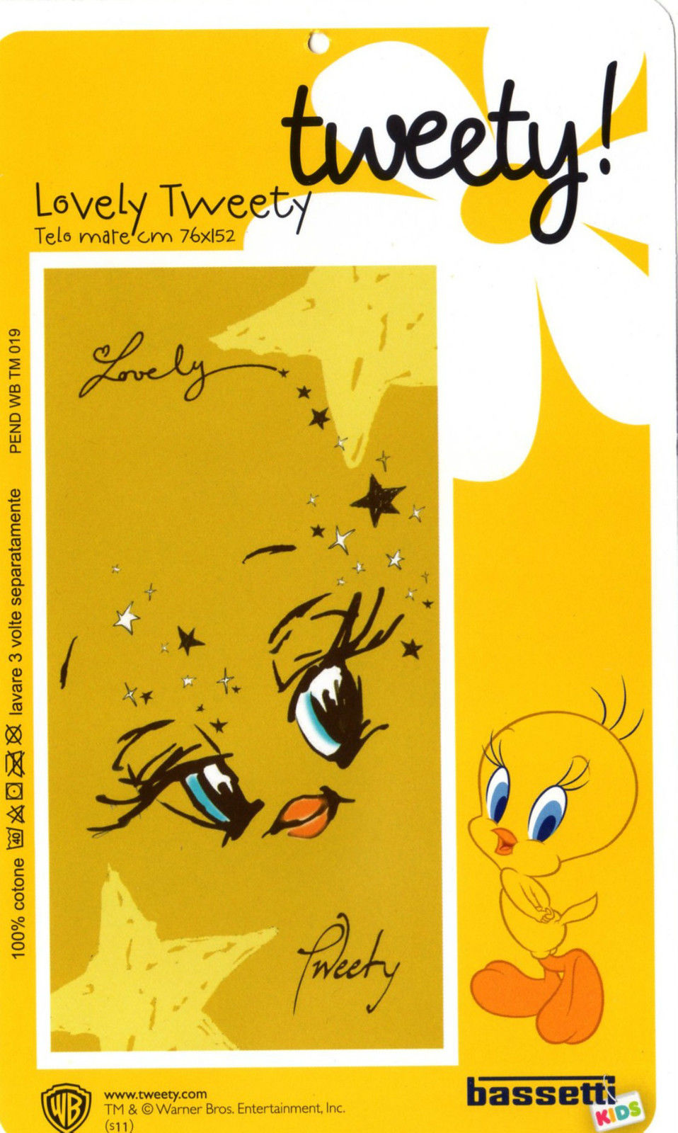TELO MARE BASSETTI LOONEY TUNES DISEGNO LOVELY TWEETY TITTY NEW