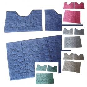 tappeto bagno tris in spugna jaquard 3 pezzi vari colori