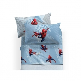 Lenzuola Spiderma Marvel Flanella Caleffi Singola Spiderman Manhattan